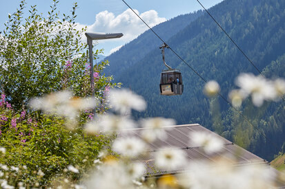 View to the gondola in Kappl on a sunny summer day