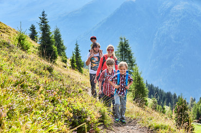 Families enjoy hiking in the mountain landscape of Kappl