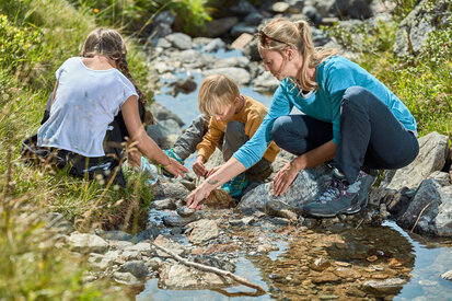 Families play at the brook in the mountain landscape Kappl