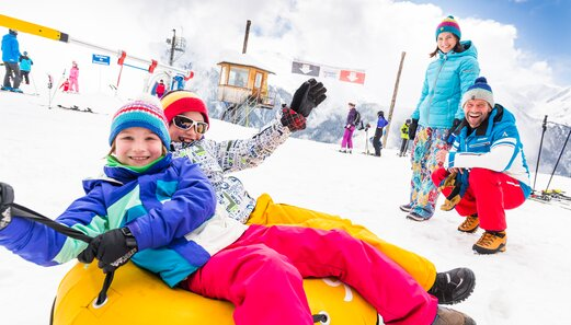 In winter families have fun at the Sunny Mountain Park in Kappl