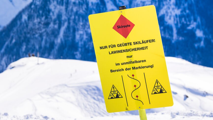 Ski routes for advanced skiers in the ski area Kappl on a sunny winter day